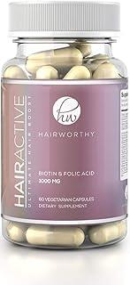 HAIRWORTHY – Crecimiento Natural del Pelo Vitaminas Veganas | Suplemento para Cabello más Largo, Fuerte y espeso | 5000 mcg Biotina | Multivitamínico para cabello, piel y uñas (suministro para 1 mes)