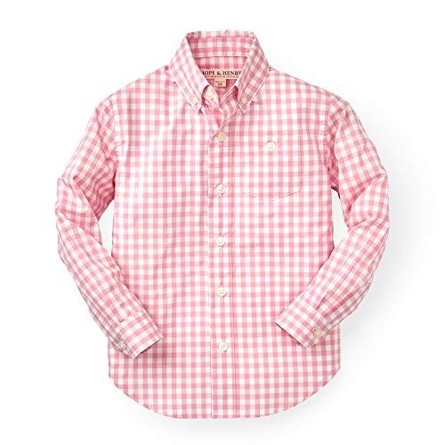 Hope & Henry Boys' Pink Gingham Woven Poplin Button Down Shirt
