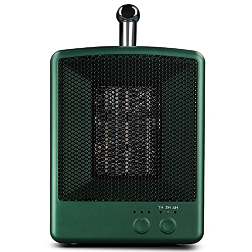 LTLJX Calefactor de Aire Eléctrico, 1000w Calefactor Cerámico, con Timer, Bajo Consumo de Energía, Protección Sobrecalentamiento, para Espacio Pequeño Dormitorio Oficina Hogar,Verde