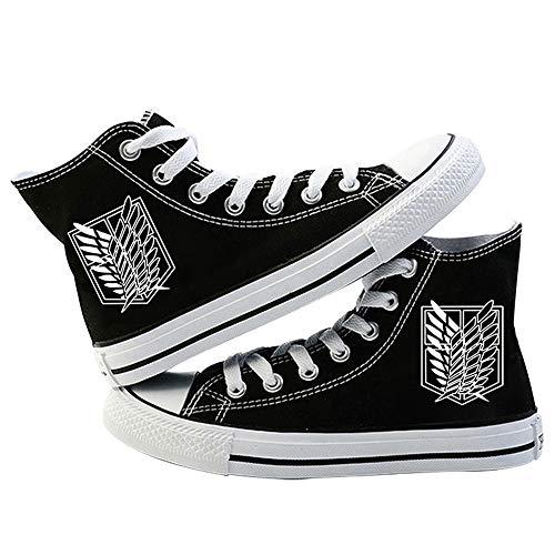 LKKOY Parcial Attack on Titan Mujeres Zapatillas De Deportivos De Sneakers Transpirable con Cordones Zapatillas para Correr Atlético Caminar Zapatos,Black 41