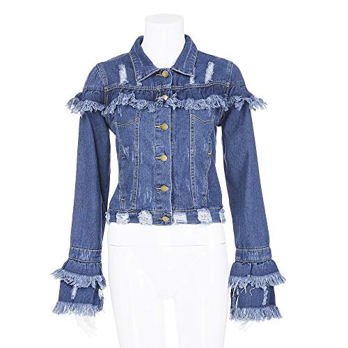Blue Womens Denim Jeans Jacket Coat Sexy Tassel lange mouwen Cowboy Fashion Revers Single Breasted Short Hip Hop Streetwear voor elke gelegenheid,L