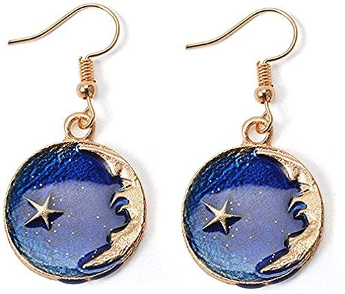 Collar con colgante de estrella y luna esmaltada, pendientes colgantes, delicados pendientes asimétricos de estrella y luna para niñas y mujeres