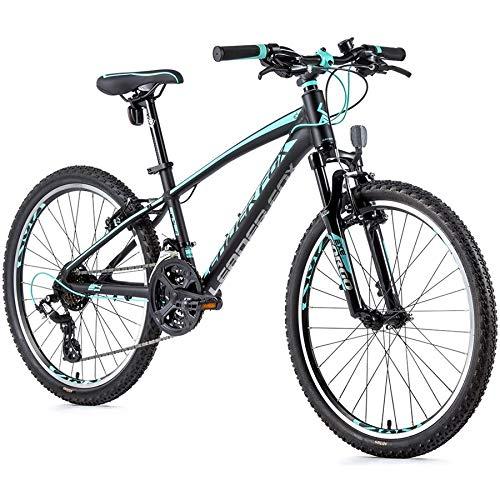 24 Zoll Alu Leader Fox MTB Fahrrad Shimano Mountain BikeSchwarz Blau RH 33 cm