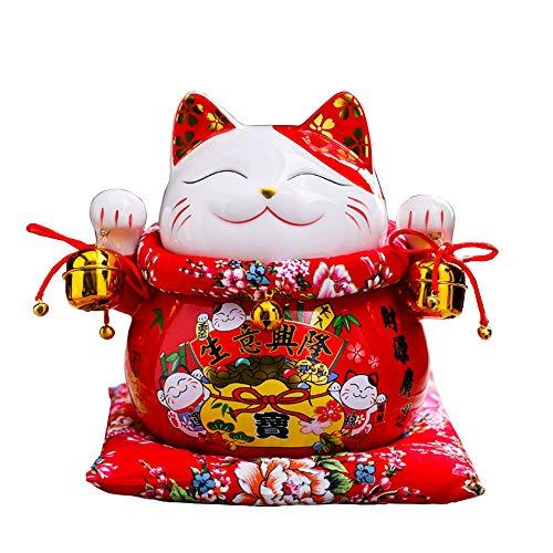 XIZHI Lucky Cat Coin Bank stijl met twee klokken sierlijk ingericht porselein,Feng Shui 7 Inch Fortune Cat betekenis Business is Booming