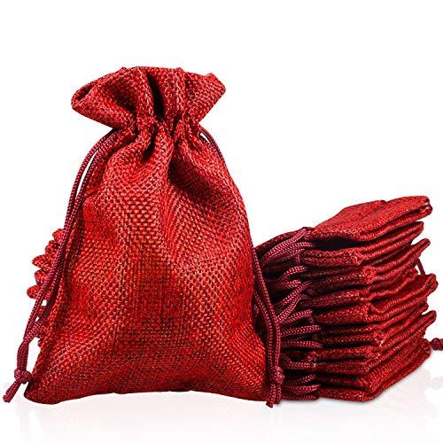 PAMIYO 30 Pezzi Sacchetti di Iuta Rosso Scuro, Sacchetti Regalo Sacchetti in Tela Sacchettini Coulisse Sacchetto per Festa di Matrimonio,Sacchetti Regalo Natale Christmas Bag,10 cm x 14 cm