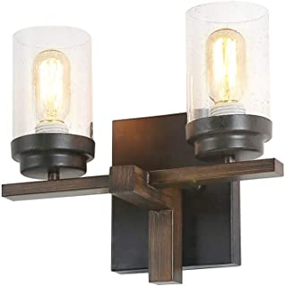 Eumyviv Rustic Style Bathroom Lighting Metal Wall Sconce with Seeded Glass Shade, Industrial Wall Light Log Cabin Home Retro Edison Sconce Lighting Fixtures 2-Lights, Black (W0062)