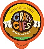 Crazy Cups Decaf Flavored Coffee Pods, Bananas Foster Flambé, Banana Coffee Pods, Single Serve Coffee for Keurig K-Cup Machines, Hot or Iced Coffee, Medium Roast Coffee in Recyclable Pods, 80 Count