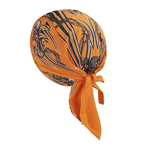Jiahg - Bandana deportiva de secado rápido, protección contra los rayos UV, para hombre y mujer, pañuelo pirata, cinta para la cabeza, para ciclismo, motocicleta, gorro, naranja