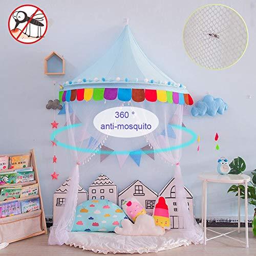 Auvent de lit pour enfants, 98,43 pouces de hauteur 360° auvent suspendu anti-moustique avec moustiquaire, tente de jeu de gaze princesse pour la décoration de la chambre de bébé (sans lumière)