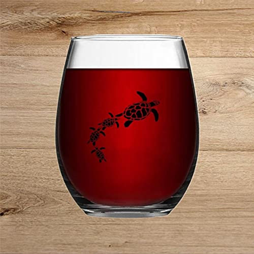 Copa de vino grabada con forma de tortugas marinas para whisky, cristal sin tallo, decoración de fiesta, perfecto para padre, mamá, niño o amiga