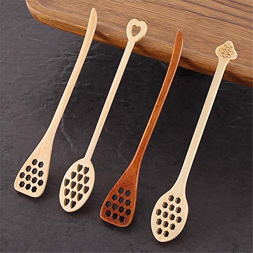 Huieng 4 Stks Lange Handvat Hout Honing Lepel, Mixing Stick Dipper voor Koffie Keuken Gereedschap, Hout Proeven Lepel Gebruiksvoorwerpen Handgemaakt