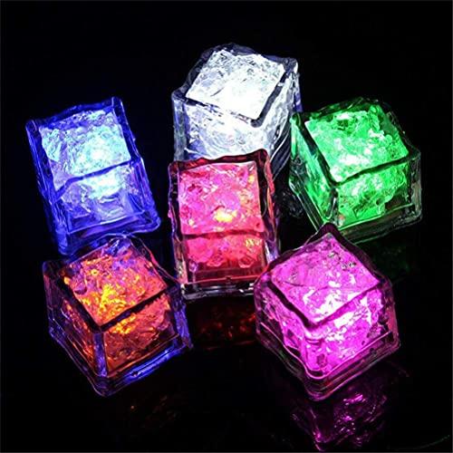 N\C Paquete de 12 bandejas Reutilizables de Cubitos de Hielo LED con luz Sumergible en Agua Que cambian de Color para Fiestas, Bricolaje, Ladrillos de Vidrio Luminosos con Luces de Colores para