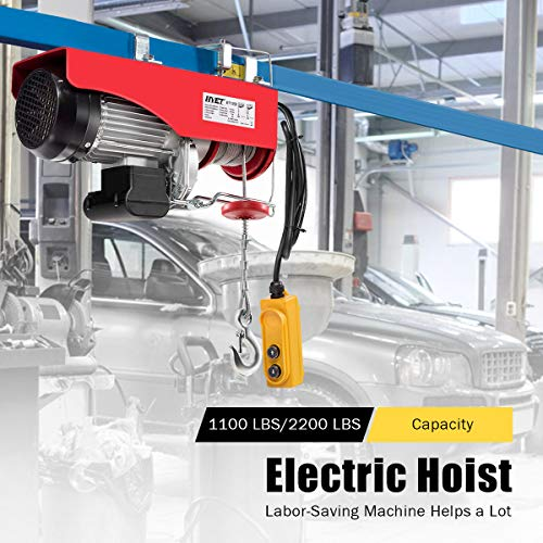 Goplus 2200 lbs Lift Electric Hoist Crane Remote Control Power System, Solid Carbon Steel Wire Overhead Crane Garage Ceiling Pulley Winch with Emergency Stop Switch