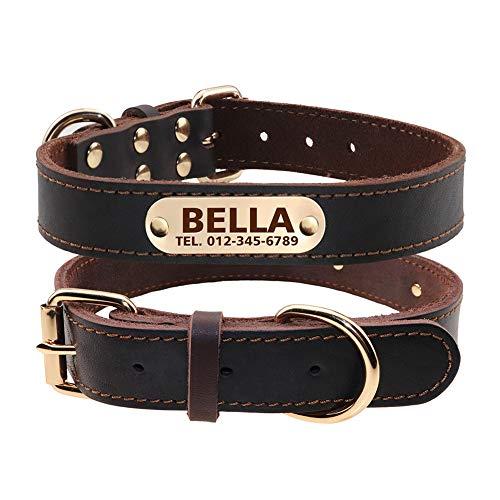 TagME Personalisierte Hundehalsbänder aus Leder mit Eingraviertem Namen und Telefonnummer/Hundehalsbänder aus Echtem Leder für Kleine Hunde/Braun