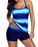 Conjunto de Tankinis Mujer Talla Grande, Ocio Traje de Baño Push Up Beachwear Bikini 2 Piezas Zafiro 5XL