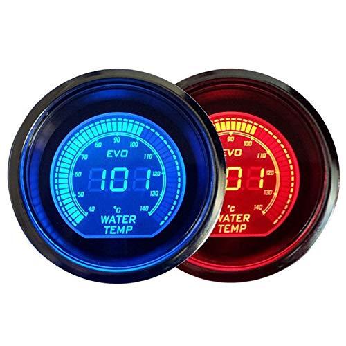 KEKEYANG Instrumententafel 52mm LED-Wasser-Temperatur-Messgerät mit Sensor 40-140 Grad Celsius Metern Blau und Rot Zwei-Farb-LCD-Digitalanzeige for Motoren, Schiffe, modifizierten Autos Verschleißteil
