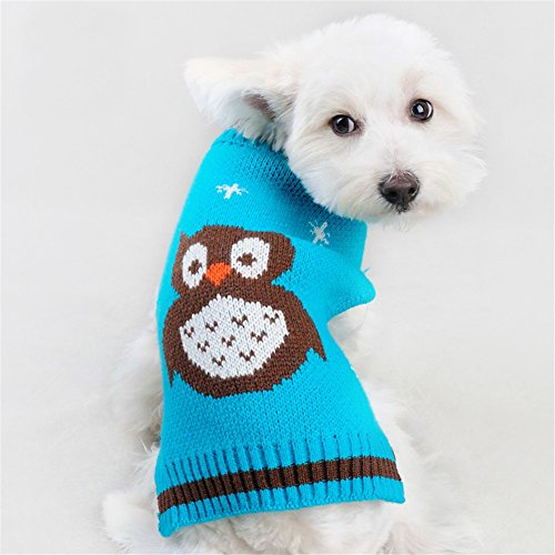 NACOCO Pet Clothes The Owl Sweater The Cat Dog Sweater Christmas Pet Jacket Dog Apparel (Blue, S)
