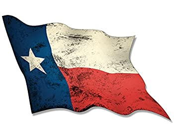 American Vinyl Vintage Waving Texas Flag Sticker  Old Look Distressed tx Wave Texan