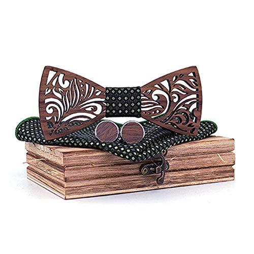 DeHolifer Herren Elegant Holz Fliege Durchbrochene Muster Bogen aus Handgemachte Retro Umweltschutz Fliege Set inkl1 Fliege + 2 Manschettenknöpfe +1 Brosche +1 quadratisches Handtuch +1 Holzkiste