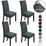 NORTHERN BROTHERS Dining Chair Covers Stretch Chair Covers Parsons Chair Slipcover Chair Covers for Dining Room Set of 4,Dark Grey