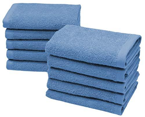 ZOLLNER 10er Set Seiftücher Baumwolle, 30x30 cm, blau, 420 g/qm