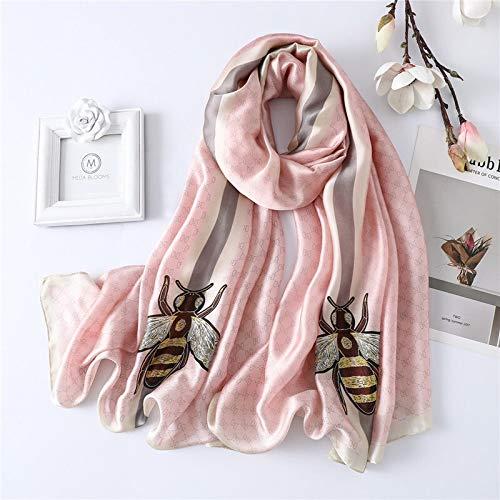 Bufandas de seda europea y americana de imitación de seda real, chal de invierno, cálida bufanda de viaje, toalla de playa (color: rosa, tamaño: talla única)