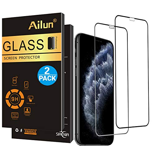 Ailun Screen Protector for iPhone 11Pro/X/Xs iPhone 10 2Pack Notch Full Coverage 2.5D Edge Tempered Glass for iPhone 11 Pro/X / 10 / Xs 5.8Inch Anti Scratch Bubble Free