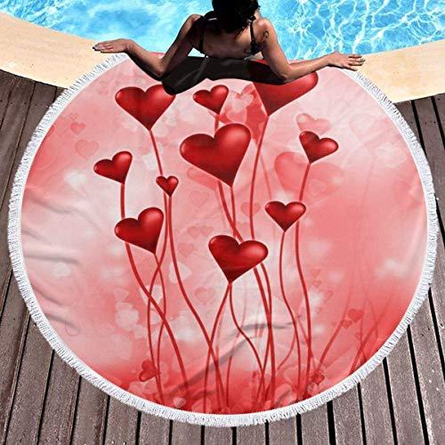 LUCKCHN Abstraktes Herz-bedrucktes rundes Strandtuch, Yoga-Picknick-Matte, runde Tischdecke, ultraweich, super saugfähig, Frottee-Handtuch mit Quasten
