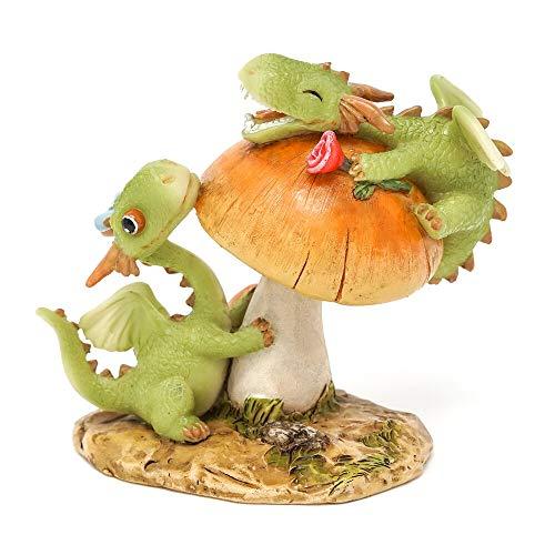 Mini Dollhouse Fairy Garden - Mini Dragons Frolicking on Mushroom - Accessories