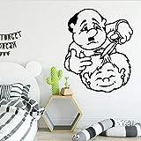 yaonuli Cute Barber Cartoon Wall Stickers Mural Art for Kids Room Art Stickers vinilos Decorativos Adhesivos de pared42x51cm