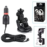 VVHOOY 2 in 1 Action Camera Car Charger Suction Cup Bracket Mount Compatible with AKASO EK7000 DBPOWER EX5000 Lightdow LD6000 APEMAN Crosstour Campark 4K Camera Accessories