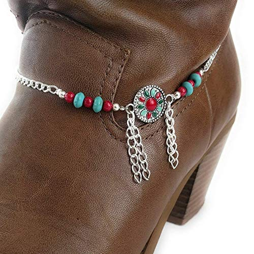 Southwestern Concho Coral Turquoise Boot Bracelet Chain Adjustable 15 Inch