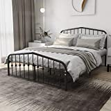 Beautiplove Queen Size Metal Platform Bed Frame with Headboard and Footboard,Heavy Duty with Steel Slat Support, No Box Spring Needed,Black
