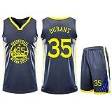 Jersey Deportivo sin Mangas para Hombre, Uniforme de Baloncesto Golden State Warriors No. 35 Kevin Durant, Tops y Pantalones cortos-grey-2XL