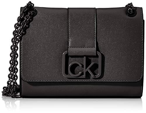 Calvin Klein Damen Ck Signature Conv Crossbody MD Umhängetasche Schwarz (Black)
