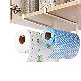 2 soportes para toallas de papel para gabinete, sin perforación, soporte para rollo de cocina, estante de papel debajo del gabinete para cocina y baño (2 piezas del mismo estilo)