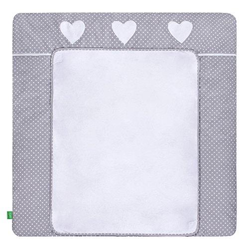 LULANDO Wickelauflage mit 2 abnehmbaren und wasserundurchlässigen Bezügen. 76 x 76 cm. Oberstoff 100% Baumwolle. Passend u.a. für die Kommode IKEA Malm, Farbe: White Dots/Grey, 5906395189878