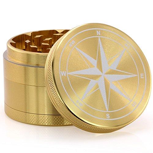 Dcou neues Design Gewürzmühle 5,5 cm 4 Stück Aluminiummühle mit Kräuter, Pfeffer und Tabak mit Gewürzbehälter mit Rosenmuster (Goldener Kompass)