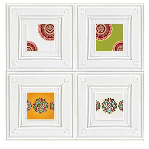 Wand-Aufkleber 3D Dado Wall Panel 3D Dekorative Wandpaneele for schmutzige Wände TV Wand Sofa Hintergrund, Wohnzimmer Wände, Schlafzimmer Walls (Größe: 70x70cm) (Color : White, Size : 5 Pack)