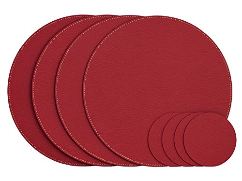 Nikalaz Lot de 4 Set de Table Rond et 4 Desous de Verres, Set de Table 33 cm de Diamètre et sous-bock 10 cm, Cuir Naturel Recyclé (Rouge)