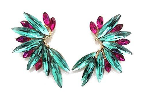 Pendientes Cristales Colores Mujer Pendientes Fiesta Boda Medio Aro, Chapado Oro Verde Fucsia