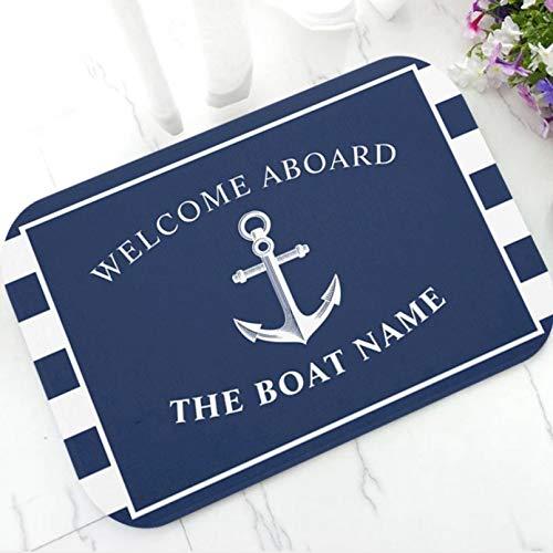 Alfombra de baño Felpudo Elegante ancla náutica barco rayas azules felpudo personalizado moderno nombre de tu barco alfombra de puerta de goma alfombra alfombra decoración Decoración hogareña-60x90cm