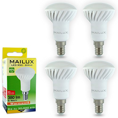 MAILUX R5 C11196 Spot LED Lampe à économie d'énergie Réflecteur | | | E14/R50 | 5 W | Matt | 380 lm, angle 110 °, lumière blanche chaude 2700 K | remplacé environ 40 Watt 4er Haushaltspack