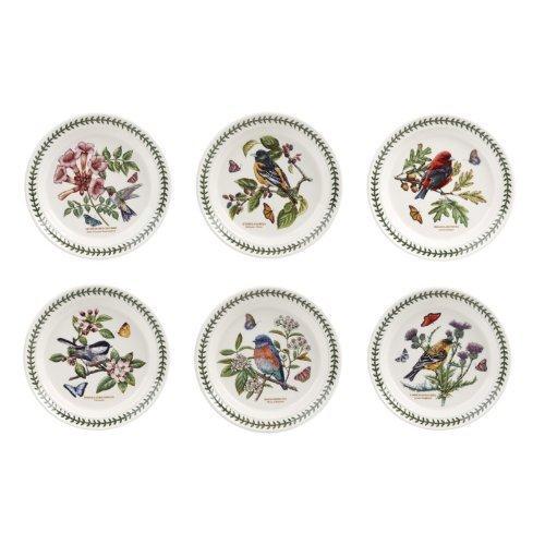 Portmeirion Lot de 6 assiettes à salade assorties Motif oiseaux de jardin botanique 8 cm