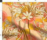 Spoonflower Stoff – Morning Pink Blume Gelb