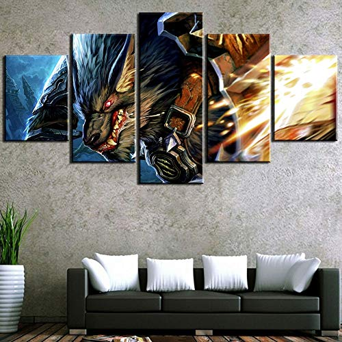 HD-afdruk Stickers muurschildering 5 stuk World of Warcraft Wolf spel Cuadros Decoracion Schilderijen Canvas Muur kunst Home Decoraties Muurdecoratie,B,20x35x2+20x45x2+20x55x1
