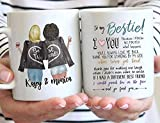 Tasses personnalisées de meilleur ami pour les femmes, choisissez les styles de cheveux et les peaux de nom, tasses à café personnalisées d'amitié pour Bestie BFF, cadeau de tasse de jour de Galantine, amitié longue distance, cadeaux d'anniversaire tasse de 11 oz