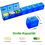 Tablettenbox 7 Tage Deutsch, SUKUOS 2X Pillendose 7 Fächer, Medikamenten-Box für 7 Tage (2 Stück - Blau/Rot) - 4