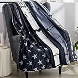 Black Gray American Flag Bed Blanket Patriotic US Flag Sherpa Throw Blanket 70'x80' Fleece Plush Cozy Warm Reversible Blanket for Couch-Travel Stripe Throw Cover for 4th of July Independence Day Gifts