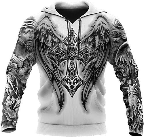 2021 Männer Wikinger Hoodie, Nordic Mythology 3D Druck Odin Tattoo Pullover Sweatshirt, Mode Casual Street Harajuku Hoodie (Color : Jesus Tattoo, Size : Medium)